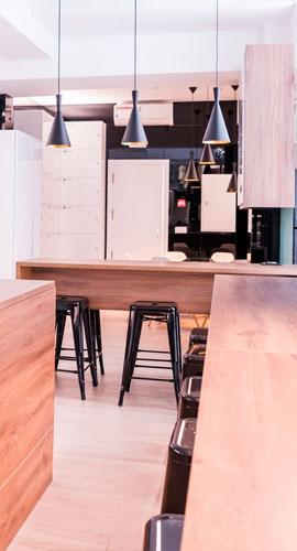 Zonas comunes en residencia de estudiantes en Madrid
